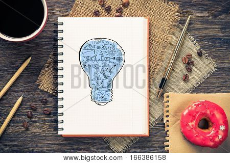 Top view of workplace with notepad for ideas and cup of coffee