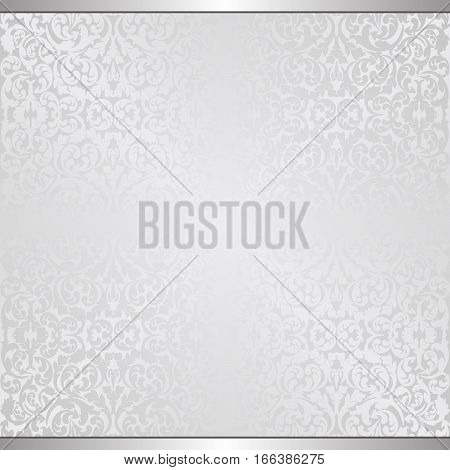 gray background with vintage pattern - vector illustration