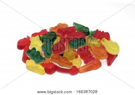 Gummy pile isolated on a white color