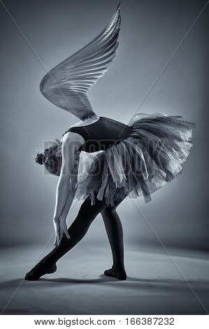 Conceptual image of a ballerina with wings spread in monochrome toned