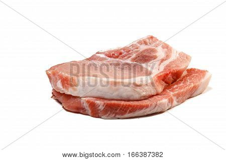 Pork Loin Boneless Sliced Is On A White Background.