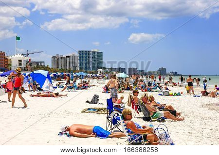 Clearwater, FL, USA - April 21: People on Clearwater beach in Florida