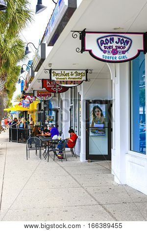 Clearwater, FL - April 21: Small boutique cafe's and stores near Clearwater beach in Florida