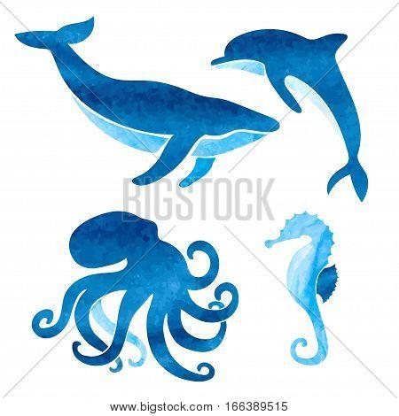 Sea animals set. Vector nautical illustration of whale dolphin octopus seahorse