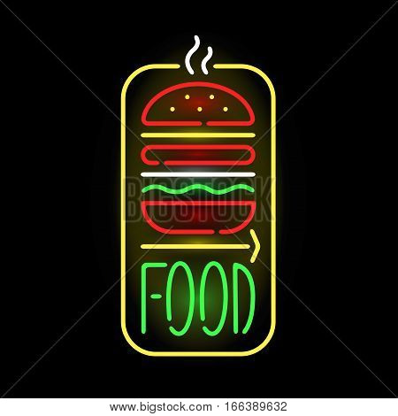 Light neon food label vector illustration. Shop font decorative symbol night bright decoration. Vegas shape abstract text objects entrance element.