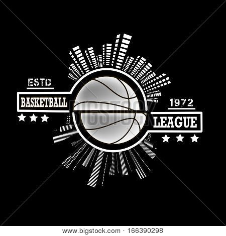 Logo basketball league with urban elements on the background of a basketball ball. Vector illustration