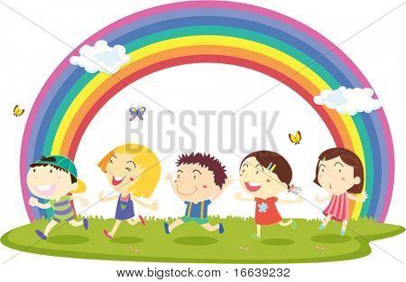 illustration of kids on rainbow background