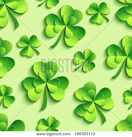 Stylish st. Patrick's day seamless pattern with green stylized 3d leaf clover cutting paper. Spring nature background. Floral trendy modern wallpaper. Vector illustration