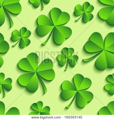 Beautiful trendy st. Patrick's day seamless pattern with green 3d leaf clover cutting paper. Spring nature background. Floral stylish modern wallpaper. Vector illustration