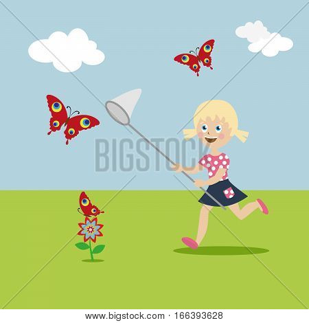 Little girl with a butterfly net in hand runs on a glade and catch butterflies. Cartoon character in a flat style. Vector, illustration EPS10