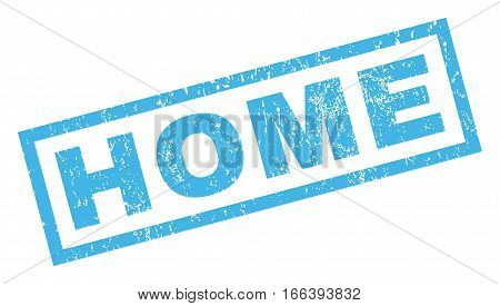Home text rubber seal stamp watermark. Tag inside rectangular shape with grunge design and scratched texture. Inclined vector blue ink emblem on a white background.