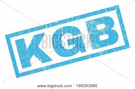 KGB text rubber seal stamp watermark. Tag inside rectangular shape with grunge design and dust texture. Inclined vector blue ink sticker on a white background.
