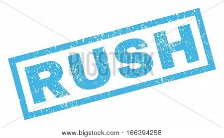 Rush text rubber seal stamp watermark. Caption inside rectangular shape with grunge design and unclean texture. Inclined vector blue ink sign on a white background.