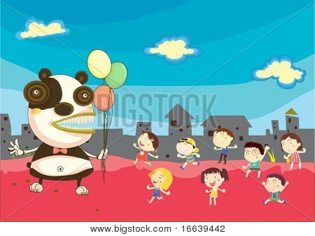 illustration of a kids playing with alian
