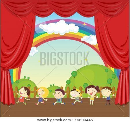 illustratie van een jonge geitjes op het podium