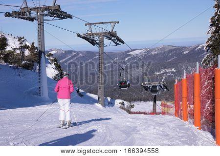 Ski resort Grosser Arber Bayerisch Eisenstein Germany funicular and exit the station.