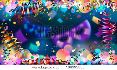 Dark blue holiday background with colorful shining bokeh and serpentine. confetti. 10 EPS