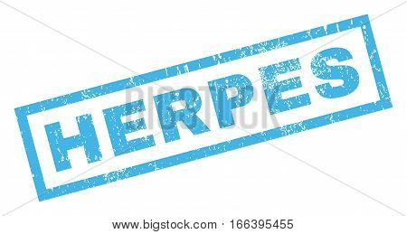 Herpes text rubber seal stamp watermark. Tag inside rectangular shape with grunge design and scratched texture. Inclined vector blue ink sign on a white background.