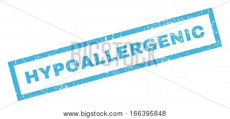 Hypoallergenic text rubber seal stamp watermark. Caption inside rectangular shape with grunge design and unclean texture. Inclined vector blue ink sign on a white background.