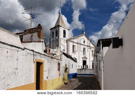Houses and Sanctuary of the Concepcion Vila Vicosa Alentejo region Portugal