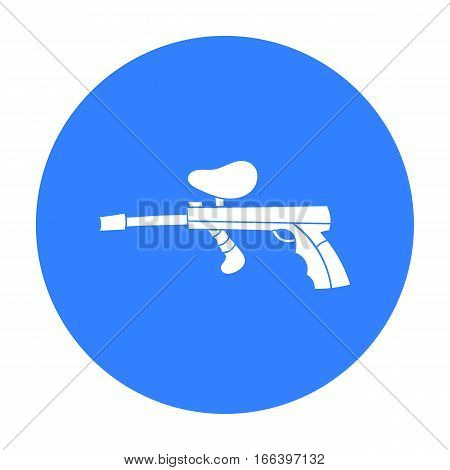 Paintball gun icon in outline design isolated on white background. Paintball symbol stock vector illustration. - stock vector