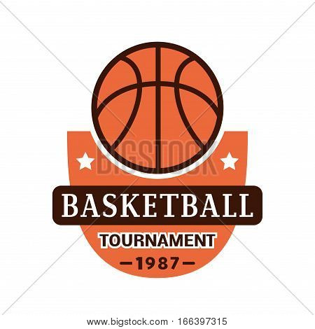 Basketball championship logo. Template for sport team with ball and symbols competition graphic champion badge. Vector club game element.