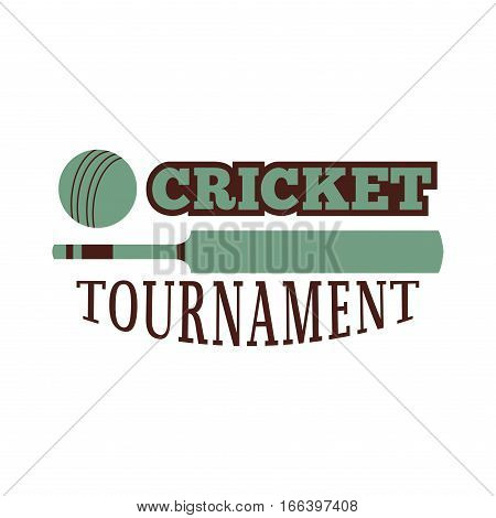 Cricket label emblem mascot wicket winner pitch. Template for sport team with ball and symbol competition graphic champion badge. Vector club game logo element.