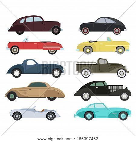 Retro luxury car icons in vector. Travel wheels race shop antique vintage vehicle auto. Automobile classic garage style model drawing old sign illustration.