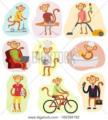 Monkey cartoon businessman suit profile and other activities icon portrait.