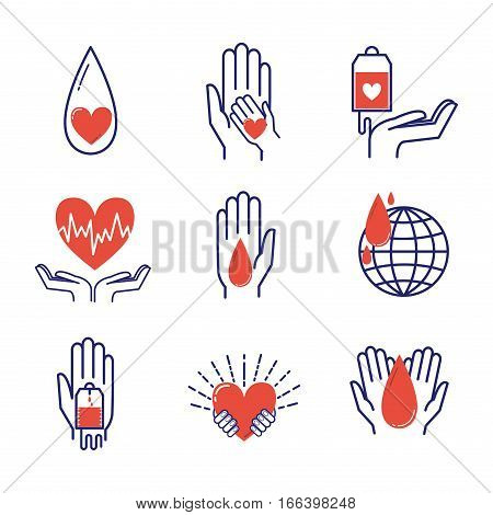 Volunteer icons charity donation vector set. Humanitarian awareness hand hope aid support and assistance care service human symbols. Trust social rescue helping ribbon. poster