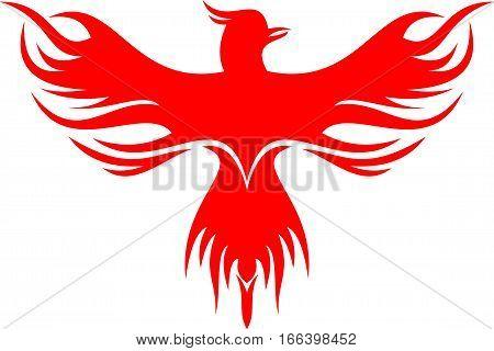 Logo illustration red phoenix bird vector photo bigstock logo illustration red phoenix bird flying silhouette voltagebd Choice Image