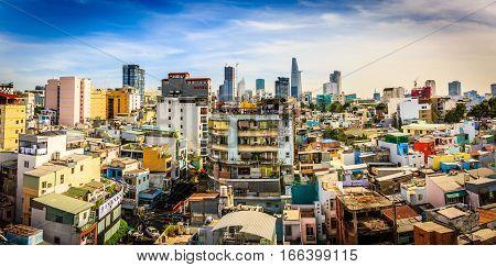 Vietnam, Saigon downtown, District 1, buildings, houses