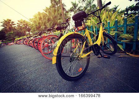 closeup of bike share waiting for next rider
