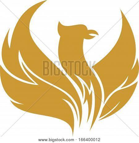 logo illustration gold phoenix bird flying symbol