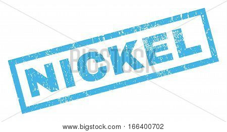 Nickel text rubber seal stamp watermark. Caption inside rectangular shape with grunge design and dust texture. Inclined vector blue ink emblem on a white background.