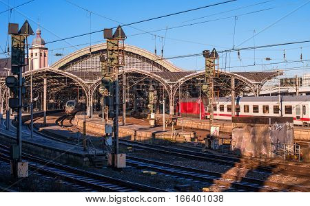 Cologne, Germany - January 19, 2017: The main train station of the city. The passenger train arrives at the station.