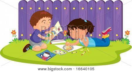 illustration of kids on white
