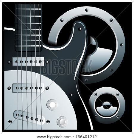Stylized vector illustration of electric guitar and speaker system
