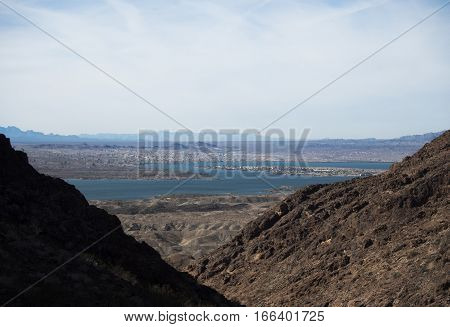 View to Lake Havasu from hike Picnic table.