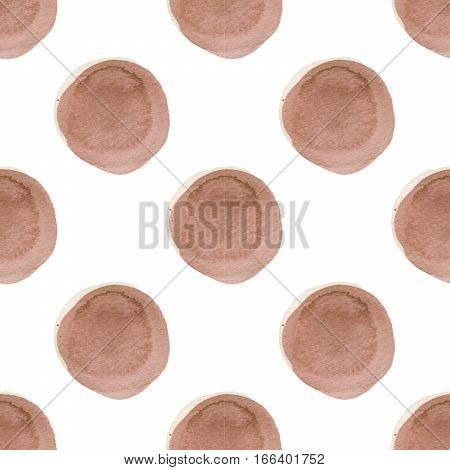 Abstract pattern with of watercolor circles in shades of brown and white. Hand drawn spots. Pattern blue polka dot. Texture for textile, wrapping paper, greeting card, invitation, wallpaper.