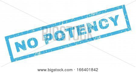 No Potency text rubber seal stamp watermark. Tag inside rectangular shape with grunge design and dust texture. Inclined vector blue ink emblem on a white background.