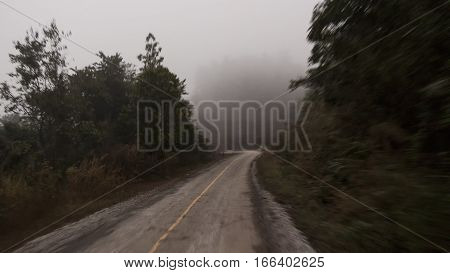 Road on the mountain in morning hours