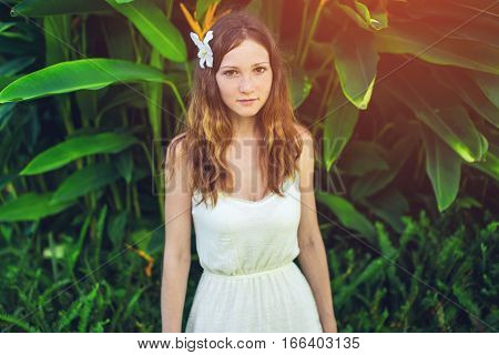 Beautiful Girl With Magnolia Flower In Hair