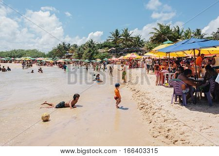 Pitimbu, Paraiba, Brazil - January 15, 2017 - Praia Bela, Tourist Attraction In Brazil Famous For Th