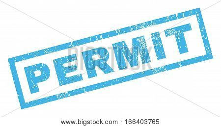 Permit text rubber seal stamp watermark. Caption inside rectangular shape with grunge design and dust texture. Inclined vector blue ink sign on a white background.