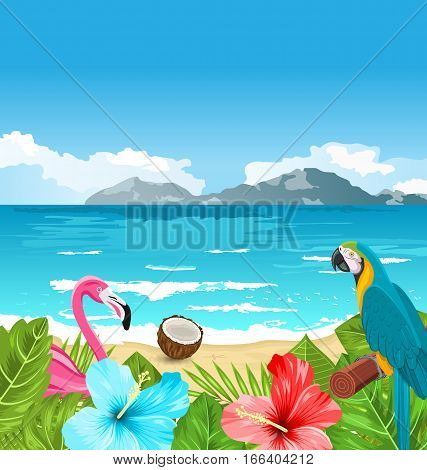 Illustration Exotic Wallpaper with Parrot Ara, Pink Flamingo, Tropical Flowers, Palm Leaves, Hibiscus, Coconut, Beach, Sea - Vector