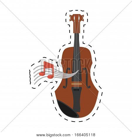 wooden fiddle instrument note music dotted line vector illustration eps 10