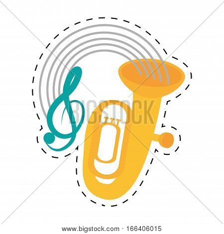 tuba wind brass music instrument dotted line vector illustration eps 10