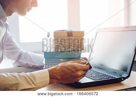 Men Doing Online Shopping, Making Purchasing Goods On The Internet