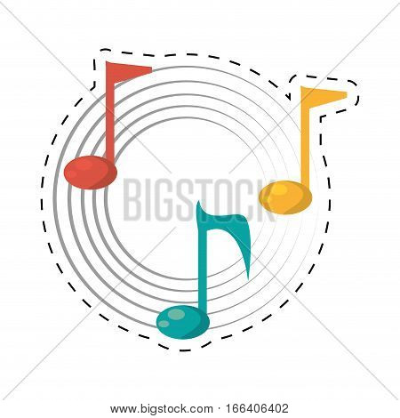 note musical melody sound dotted line vector illustration eps 10
